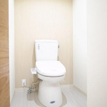 トイレはひろびろしています。棚を置くスペースがありますね◎