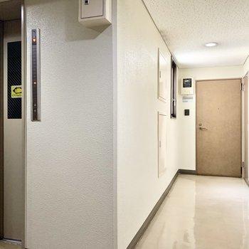 エレベーターもある落ち着いた共用部。