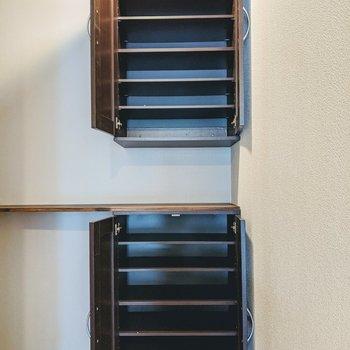 嬉しい高さ調節可能なシューズボックス。上下二段あるので種類によって分類するとよいかも〜