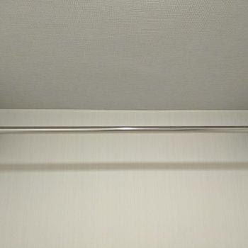 脱衣所の天井には洗濯物干しポールがあって室内干しも可能