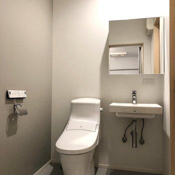 トイレと洗面台が横並びです。
