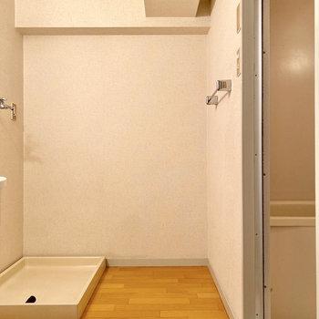 脱衣室入って正面に室内洗濯機置き場です。