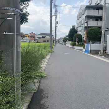 お部屋前の道は広いです。車でも通りやすそうです。