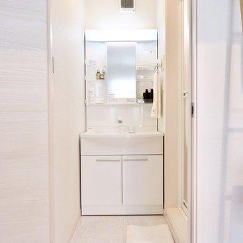 脱衣スペースも取られた洗面スペースです。