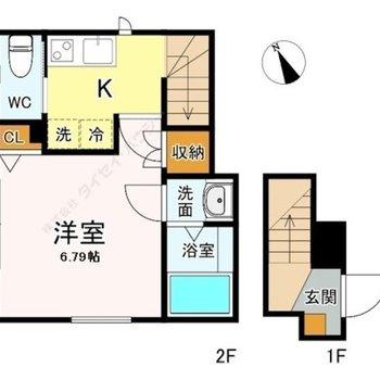キッチンや水回りにも十分スペースが取られた1Kです。