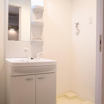 独立洗面台もしっかりと。そのとなりに洗濯パンです。(※写真は3階の同間取り別部屋のものです)