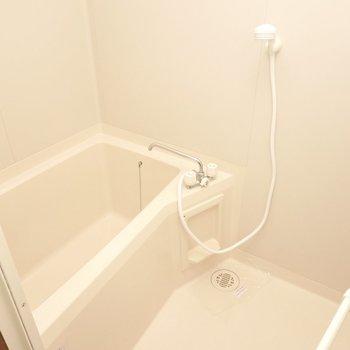 お風呂は至ってシンプルな内装と設備。(※暗所の為、フラッシュ撮影です)