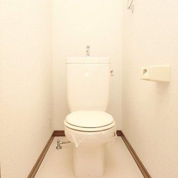 おトイレも同じくシンプルですが、ウォシュレットの後付けができます。(※暗所の為、フラッシュ撮影です)