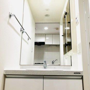 大きな鏡は姿見としても使えそう(※写真は4階の同間取り別部屋のものです)