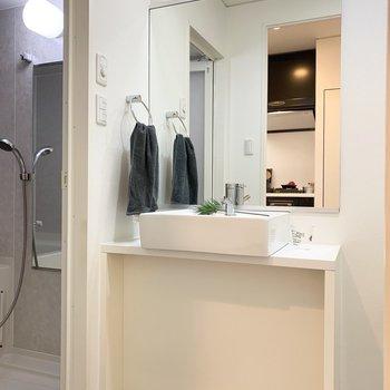 水廻りへはキッチンの後ろのドアから。洗面台もかっこいい◎(※写真は7階の同間取り別部屋、モデルルームのものです)