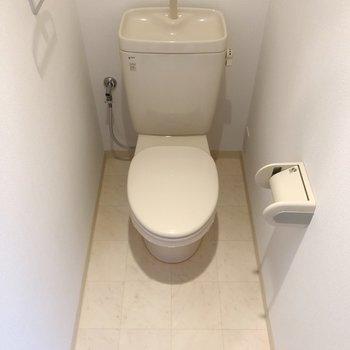 奥行きにゆとりがあるトイレ。気持ちにもゆとりが持てそう。