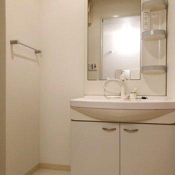 清潔感+機能性を兼ね備えた洗面台は魅力的に感じるはず。