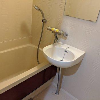 2点ユニットバスのお風呂場。洗面所を使うときはバスマットを使うとイイかも