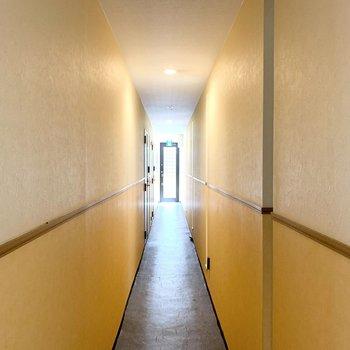 玄関ドアの外は細長い共用廊下。