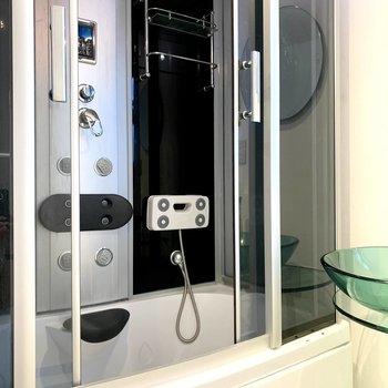 浴室はなんだかかっこいいシャワーユニット。