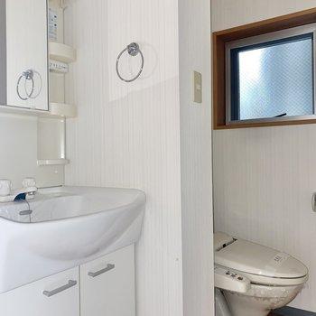 くるっと後ろ。洗面台とトイレが見えます。