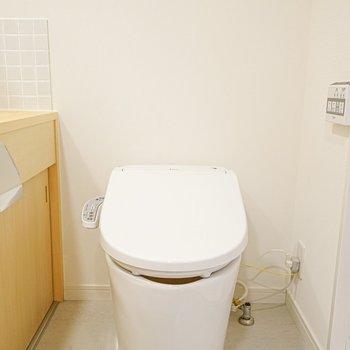 脱衣所に入って正面にはウォシュレットつきのピカピカなおトイレ!