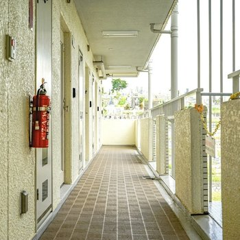 玄関前の共用部。ちょっぴりレトロですが、行き届いた清掃が印象的でした。