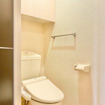 トイレには棚があるので、ストックや掃除道具をしまえます。
