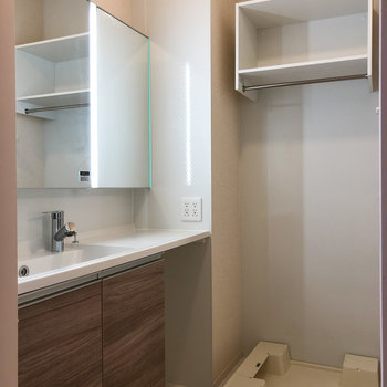 鏡の広い洗面台。洗濯機もこちらに。