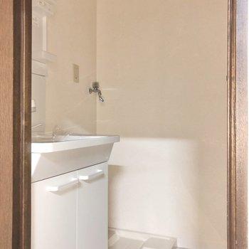 脱衣所には洗面台と洗濯機置場のこのセット。(※写真はフラッシュを使用しています)
