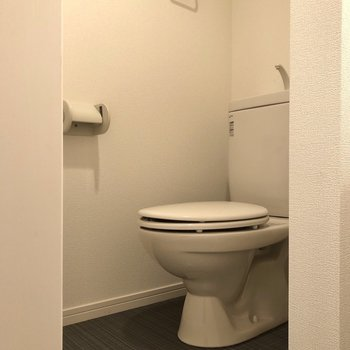 トイレはお隣に。タオル掛けもありますね。