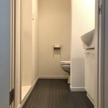 続いては洗面室・トイレ・浴室へ。床材の黒からシックな雰囲気を感じます。