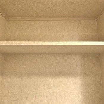 上部には棚が。トイレットペーパーなどが置けますよ。
