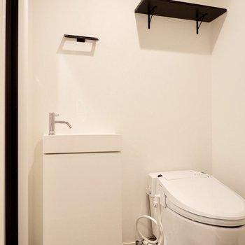 脱衣所内にはタンクレストイレと手洗い用洗面台
