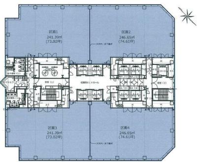東京ビッグサイト 147.34坪 オフィス の間取り