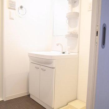 独立洗面台もしっかりと。その右となりに洗濯パンです。(※写真は3階の同間取り別部屋のものです)