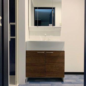 大きめの鏡が嬉しい独立洗面台!(※写真は1階の同間取り別部屋のものです)