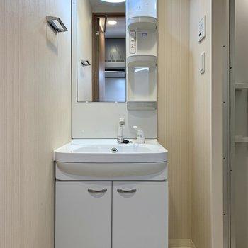 洗面台は収納ポケットがあるので、身支度が楽になりそうです※写真は7階の同間取り別部屋のものです