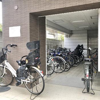 駐輪場や、