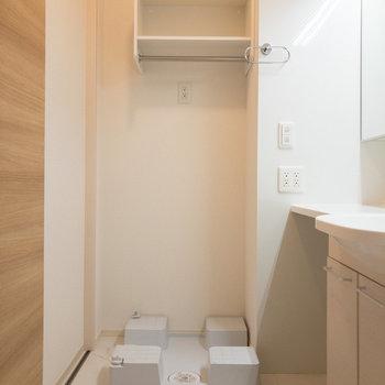 洗濯機置き場には棚やポールも。洗剤のストックもできますね。