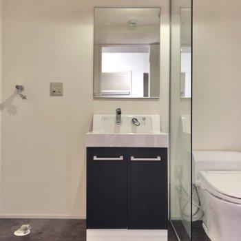 脱衣所には洗面台と洗濯機置き場とトイレも一緒。