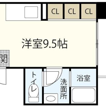 クローゼットは同じタイプのスペースが3つ並んでいます。