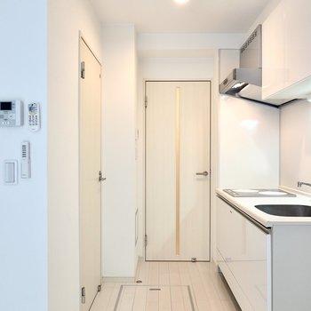 その他の設備も見てみましょう。左が脱衣所、正面が玄関へのドア。