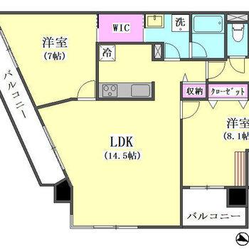 2つの洋室も広めの2LDK。