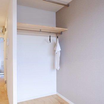 オープンクローゼットはカーテンで隠すことも可能です。