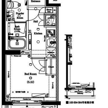 お部屋は約5.3帖のコンパクトな1K。