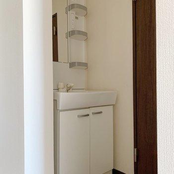 洗面台はコンパクト目。スタメンだけ外に出してスッキリと。