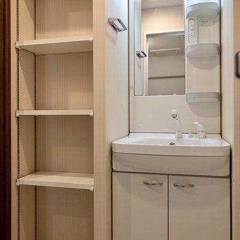 洗面台のお隣に収納が。タオルや洗剤を収納できます。※写真は2階の同間取り別部屋のものです