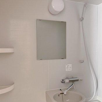 鏡や小棚つきが嬉しい。アイテムが多い方は壁掛けのシャンプーラックを。