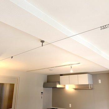 天井にはワイヤーカーテンもあるので、寝室をゆるりを隠すこともできますね