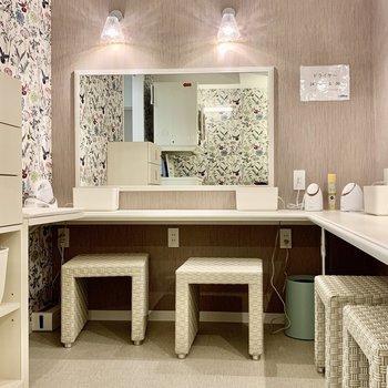 【1F Powder room】女子パウダールーム。美顔器も付いています。