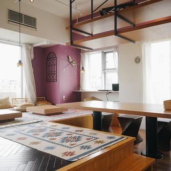 【12Fラウンジ】床座や掘りごたつのテーブルも!※写真は前回募集時のものです