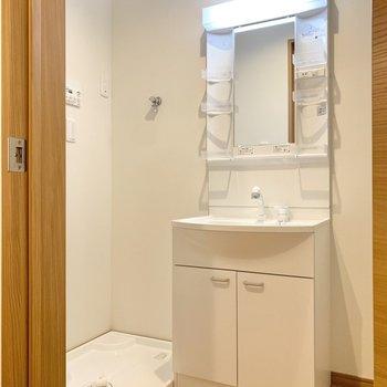 洗面所は洗濯機置き場と洗面台が隣同士です。