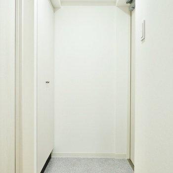 シンプルな上品さを持つ玄関。空間の余白に味を感じます。※写真は11階同間取り別部屋のものです