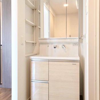 大きな鏡の洗面台。収納力もいいんです。(※写真は5階の同間取り別部屋のものです)